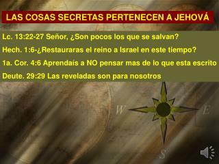 LAS COSAS SECRETAS PERTENECEN A JEHOVÁ