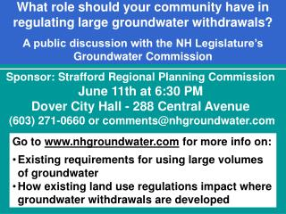 Sponsor: Strafford Regional Planning Commission   June 11th at 6:30 PM