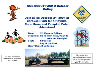 Join us on October 24, 2004 at Carousel Park for a Hayride,