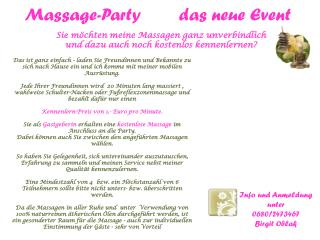 Massage-Party        das neue Event