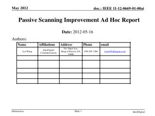 Passive Scanning Improvement Ad Hoc Report