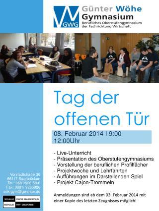 Vorstadtstraße 36  66117 Saarbrücken Tel.: 0681/926 58-0 Fax: 0681/ 9265826  sek-gym@gws-sbr.de