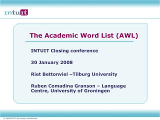 The Academic Word List AWL