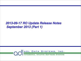 2013-09-17 RO Update Release Notes  September 2013 (Part 1)