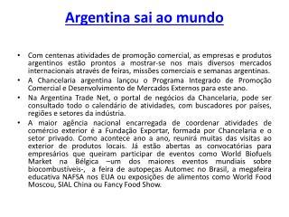 Argentina sai ao mundo