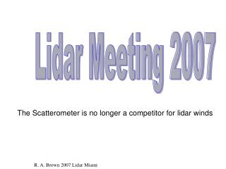 Lidar Meeting 2007