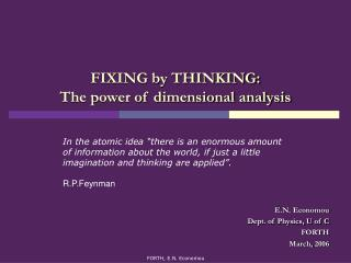 FIXING by THINKING: The power of dimensional analysis