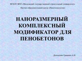 НАНОРАЗМЕРНЫЙ КОМПЛЕКСНЫЙ  МОДИФИКАТОР ДЛЯ ПЕНОБЕТОНОВ