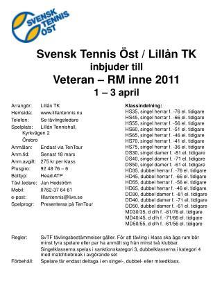 Arrangör:Lillån TK Hemsida:lillantennis.nu Telefon:Se tävlingsledare