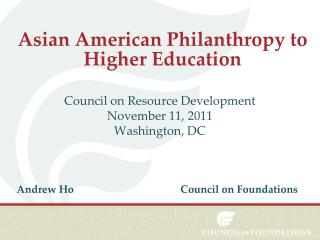 Asian American Philanthropy to Higher Education