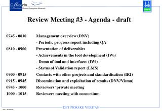Review Meeting #3 - Agenda - draft