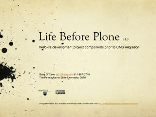 Life Before Plone  v.1.0