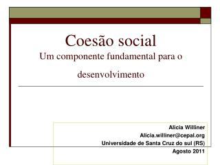 Coesão social  Um componente fundamental para o desenvolvimento