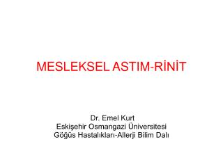 MESLEKSEL ASTIM-RİNİT