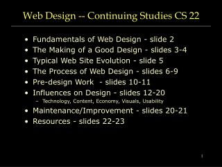 Web Design -- Continuing Studies CS 22
