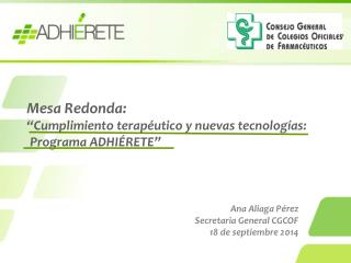 Ana Aliaga Pérez Secretaria General CGCOF 18 de septiembre 2014
