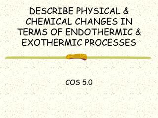 DESCRIBE PHYSICAL & CHEMICAL CHANGES IN TERMS OF ENDOTHERMIC & EXOTHERMIC PROCESSES