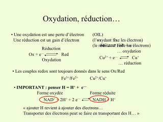 Oxydation, réduction…