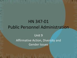 HN 347-01 Public Personnel Administration