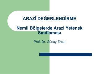 ARAZİ DEĞERLENDİRME Nemli Bölgelerde Arazi Yetenek Sınıflaması Prof. Dr. Günay Erpul