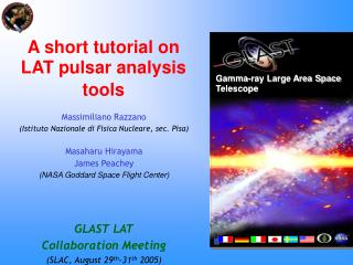 A short tutorial on LAT pulsar analysis tools