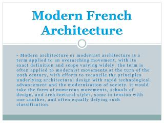Modern French Architecture