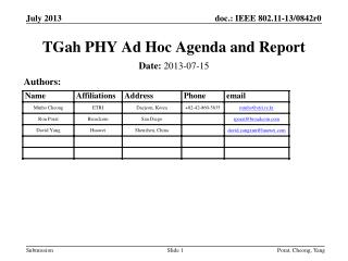 TGah PHY Ad Hoc Agenda and Report