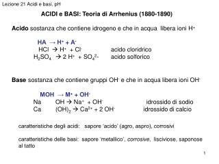ACIDI e BASI: Teoria di Arrhenius (1880-1890)
