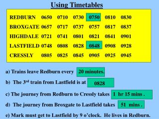 Using Timetables