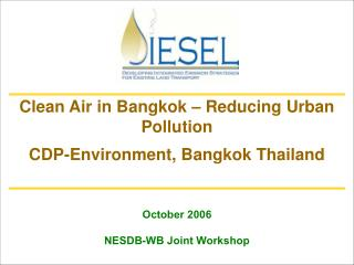October 2006 NESDB-WB Joint Workshop