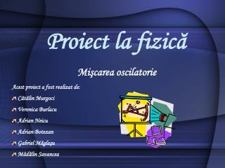 Proiect la fizică