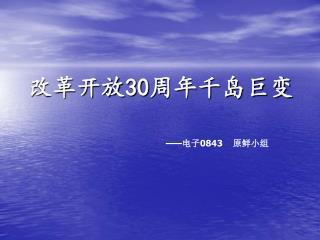 改革开放 30 周年千岛巨变