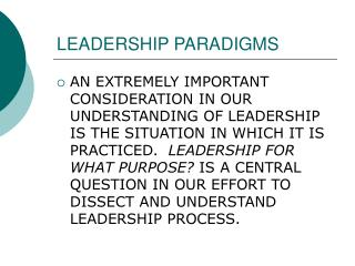 LEADERSHIP PARADIGMS