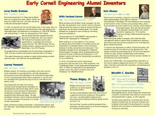 Early Cornell Engineering Alumni Inventors
