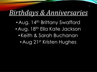 Birthdays & Anniversaries