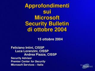 Approfondimenti  sui  Microsoft Security Bulletin  di ottobre 2004