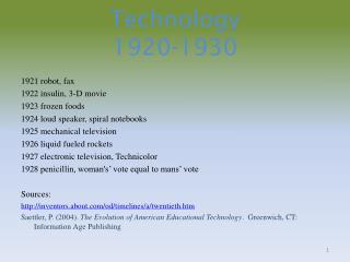 Technology  1920-1930