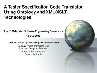 A Tester Specification Code Translator Using Ontology and XML/XSLT Technologies