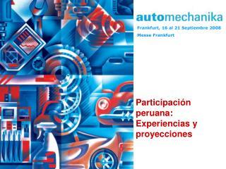 Participación peruana: Experiencias y proyecciones