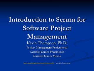 Introduction to Scrum for Software Project Management