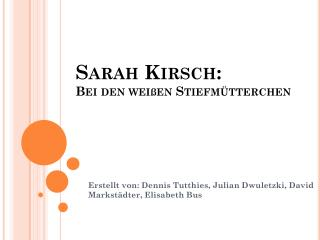 Sarah Kirsch: Bei den weißen Stiefmütterchen