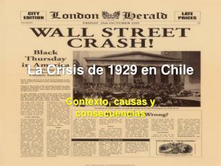 La Crisis de 1929 en Chile