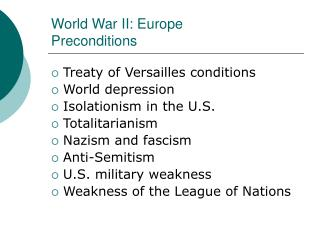 World War II: Europe Preconditions