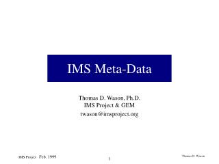 IMS Meta-Data