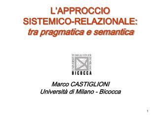 L�APPROCCIO  SISTEMICO-RELAZIONALE: tra pragmatica e semantica