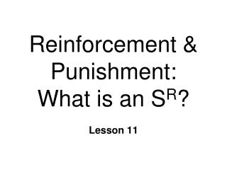 Reinforcement & Punishment:  What is an S R ?