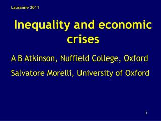 Inequality and economic crises