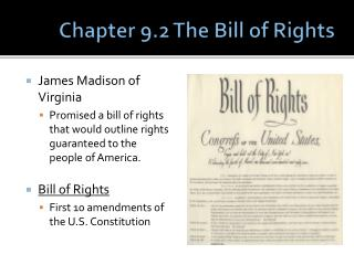 Chapter 9.2 The Bill of Rights