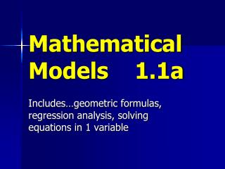 Mathematical Models    1.1a