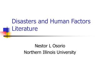 Disasters and Human Factors Literature